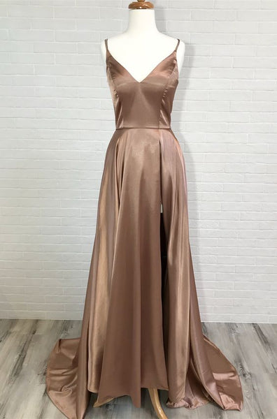 Eleagnt A-line Straps Red/Champagne Long Prom Dress ,Y0207