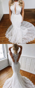 Sexy Mermaid Ivory Lace Long Wedding Dress,Y0208