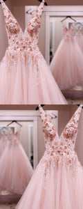 princess v neck pink long prom dress, 2019 tulle prom dress, pink sweet 16 dress ,Y0209