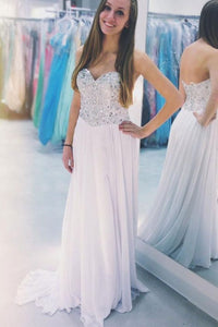 Sweetheart Pretty Strapless Sequined Chiffon A-Line Prom Dresses, Y0211