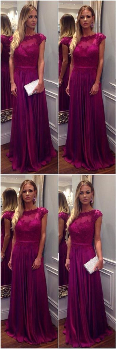 Pink A-line Chiffon Floor-length Long Prom Dresses with Appliques, Y0212