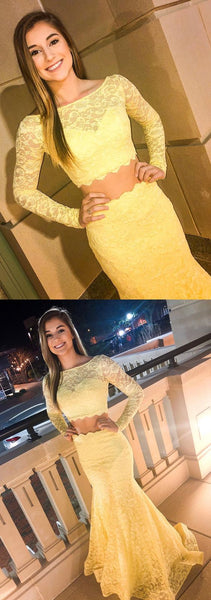 Two Piece Yellow Lace Prom Dress with Long Sleeves, Y0226