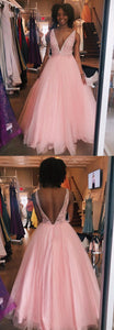 Deep V Neck Pink Appliques Long Prom Evening Gowns, Y0227