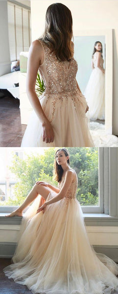 Beading Champagne Tulle Long Prom Dress, Y0228