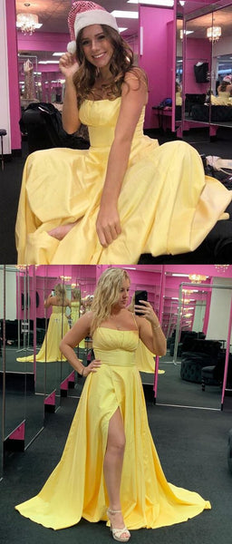 2019 Long Prom Dress, Straps Yellow Prom Dress, Double Straps Prom Dress with Side Slit, Formal Evening Dress, Y0237