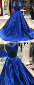 simple royal blue long prom dress with cross back, 2019 prom dress, satin prom dress, graduation dress party dress , Y0238