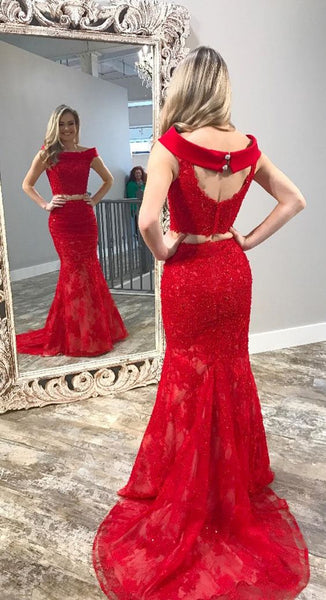 Two Piece Red Mermaid Long Prom Dress, Black Mermaid Long Prom Dress, Y0239