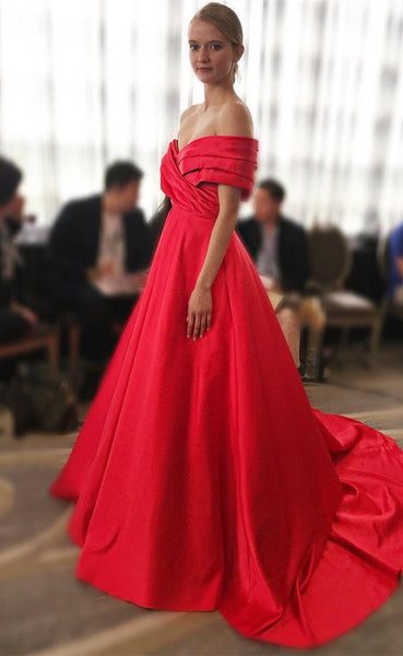 Gorgeous Off the Shoulder Red Long Ball Gown, Y0241