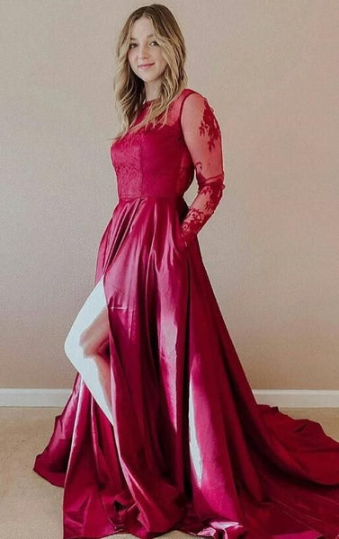 Gorgeous Long Sleeves Fuchsia Long Prom Dress Slit , Y0243