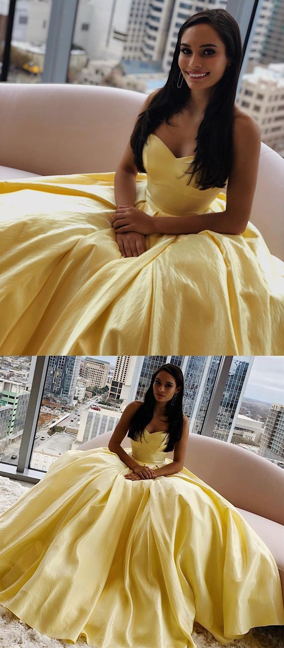Elegant Strapless Yellow Long Prom Dress , Y0244