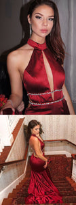 High Neck Red Mermaid Long Prom Dress with Train, Y0245