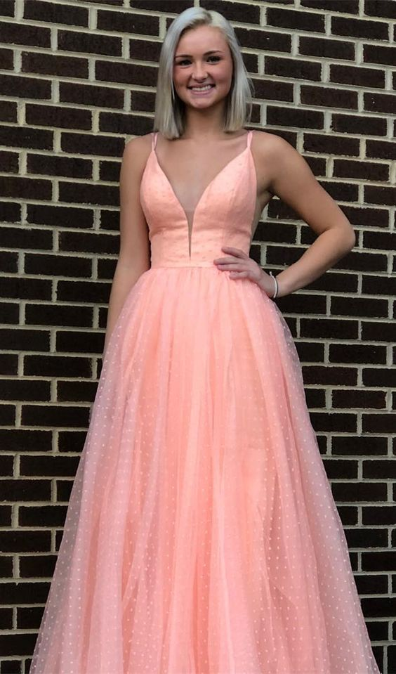 Straps Pink Long Prom Dress Graduation Dress, 2019 Prom Dress Party Dress , Y0246