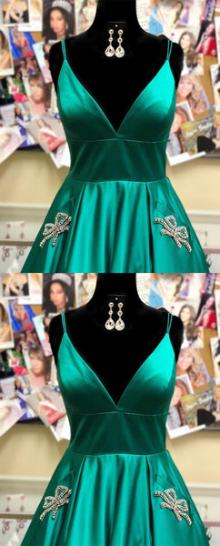 Royal Blue Long Prom Dress with Bow Knot Beaded Pockets, Y0253