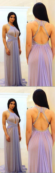 Charming Halter Strap Long Open Back Lavender Prom Dress With Beaded, Y0258