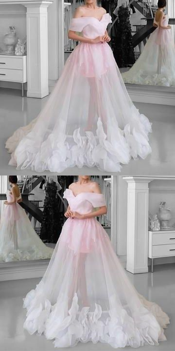 Pink Tulle See Through Prom Dresses Off Shoulder, Y0259