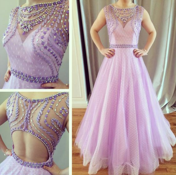 charming open back lilac tulle A-line beaded long 2017 prom dress, Y0262
