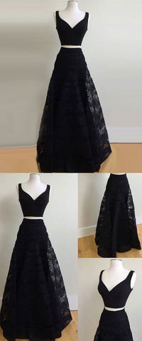 Black Lace Long Prom Dress, Sexy V neck Evening Party Gown, Pretty Homecoming Dress,Y0267