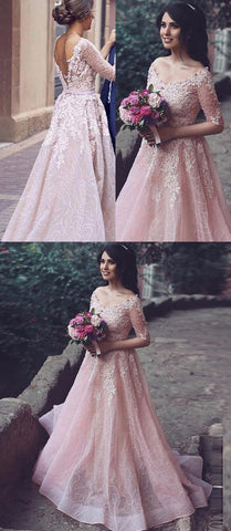 Half Sleeve Appliques Pink Tulle Formal Evening Dress, Elegant Long Prom Dress, Formal Gown, Y0268