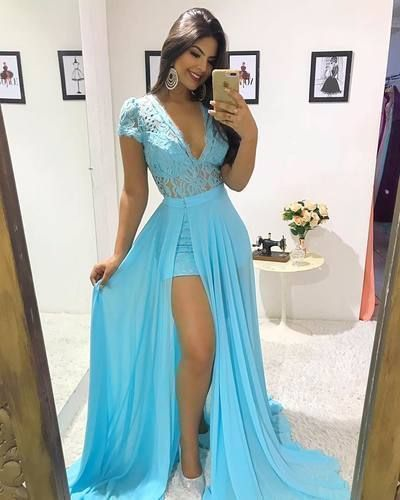 Cap Sleeve Blue Chiffon Prom Dress, Sexy Lace Evening Party Dress with Removble Skirt, Long Party Dress,Y0270