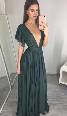 Sexy A-Line V-Neck Dark Green Long Prom Evening Dress,Y0272