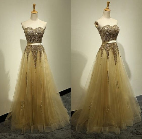 Sexy Prom Dresses,Beaded Homecoming Dress,Floor Length Handmade Beaded Gold Prom,Y0274