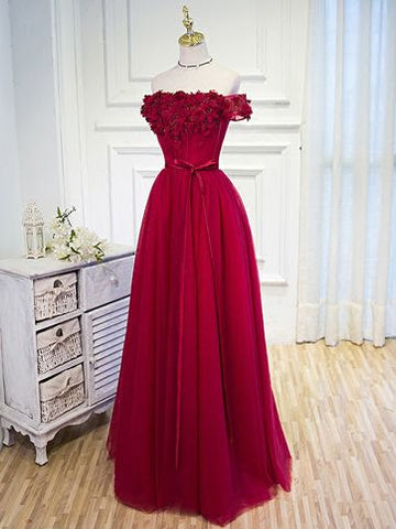 long prom dresses,Red A-line evening gowns,sexy ball gowns, custom made ,Off-the-shoulder Floor-length Tulle Prom Dresses Evening Dresses ,Y0276