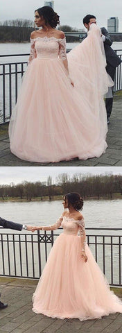 Pink tulle lace long prom dress, pink long sleeve evening dress ,Y0278