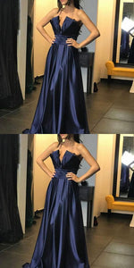 A-Line Strapless Prom Dress,Navy Blue Long Evening Dress, Y0279