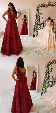 Stunning A-Line Deep V-Neck Sleeveless Long Prom/Evening Dress With Appliques,Y0280