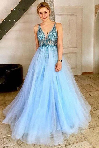 A-Line V-Neck Tulle Prom Dress with Sequins, Light Sky Blue Sparkly Party Dresses , Y0281