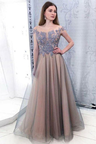 Sheer Neck Cap Sleeves Lavender Appliques Prom Dress, A Line Tulle Long Evening Dress, Y0284