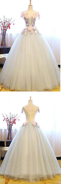 White Princess Deep V Neck Flowers Cap Sleeve Long Ball Gown Prom Dresses, Quinceanera Dress, Y0287
