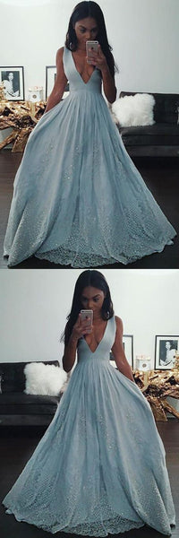 Fashion Light Blue A-line V Neck Long Prom Dresses With Lace Appliques, Y0288