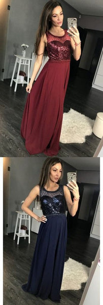Charming Burgundy Sequins A Line Sleeveless Chiffon Long Prom Dress, Y0289