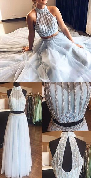 Two Piece Beaded High Neck Light Sky Blue Tulle Sleeveless Long Formal Dress, Y0291
