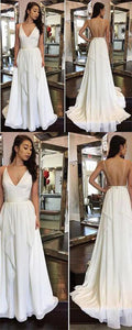 2019 Simple Cheap Sexy Ivory A-line Chiffon V-Neck Sleeveless Ruffles Backless Wedding Dress , Y0294