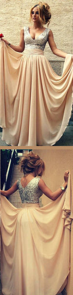Blush A Line Floor Length V Neck Sleevless Sparkle Prom Dress,Party Dress, Y0295