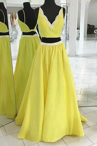 Yellow Two Pieces V Neck Prom Dresses,A Line Satin Evening Dresses, Y0308