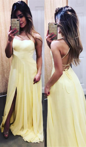 Simple Straps Yellow Long Prom Dress with Lace Up Back , Y0312