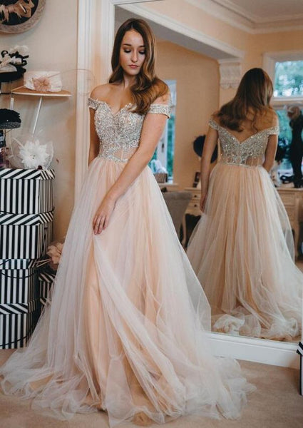 Princess Off The Shoulder Long Prom Dress With Appliques , Y0316
