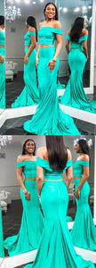 Two Piece Off the Shoulder Mermaid Long Prom Evening Dress, Y0318