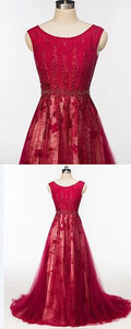 Scoop Cap Sleeves Red Lace Beaded Long Evening Prom Dresses, Cheap Custom Sweet 16 Dresses, Y0328