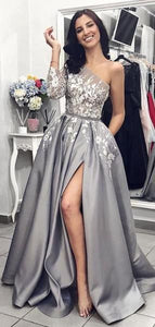 Grey One Shoulder Long Sleeves Lace Long Evening Prom Dresses, Cheap Custom Sweet 16 Dresses, Y0330