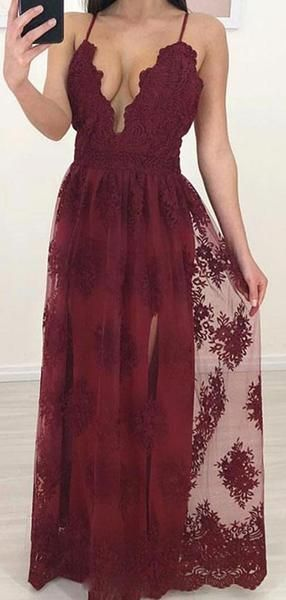 Maroon Side Slit Lace Cheap Long Evening Prom Dresses, Custom Sweet16 Dresses, Y0332