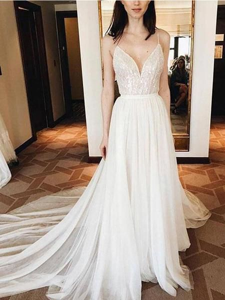 Spaghetti Straps V Neck Ivory Soft Tulle Cheap Long Evening Prom Dresses, Cheap Sweet 16 Dresses,Y0335