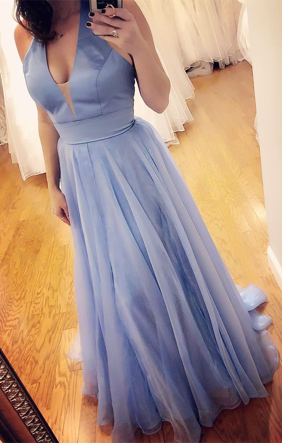Simple Halter Light Blue Long Prom Dress ,Y0340