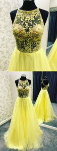 Backless Yellow Long Prom Evening Dress with Pockets, Y0343
