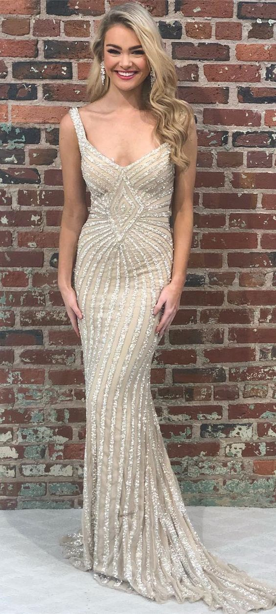 Sheath Champagne Beading Long Prom Dress with Criss Back, Y0345