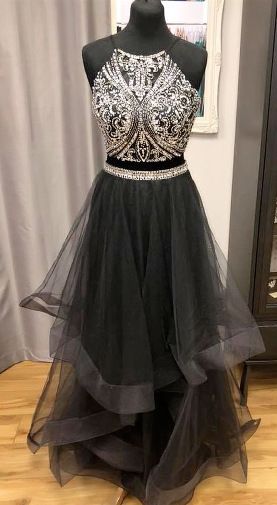 Princess Two Piece Blue Long Prom Dress, Y0349