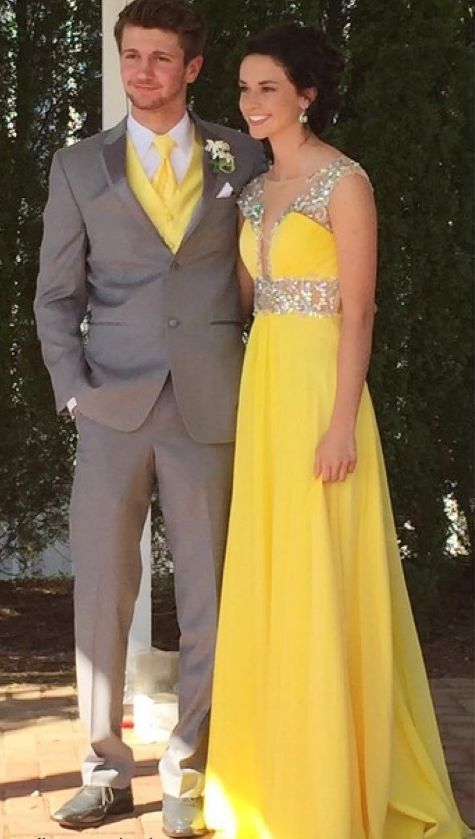 Elegant Yellow Long Prom Dress with Beading, Evening Party Dress, Formal Gown , Y0360